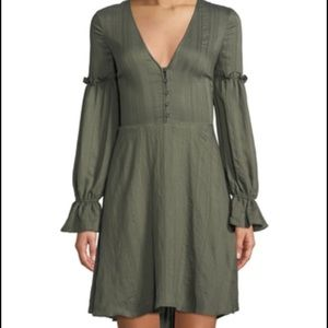 NWT BCBG MAXAZRIA Dusty olive peasant dress XXS-S